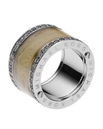 Michael Kors Horn Design Barrel Ring with Pave Detail