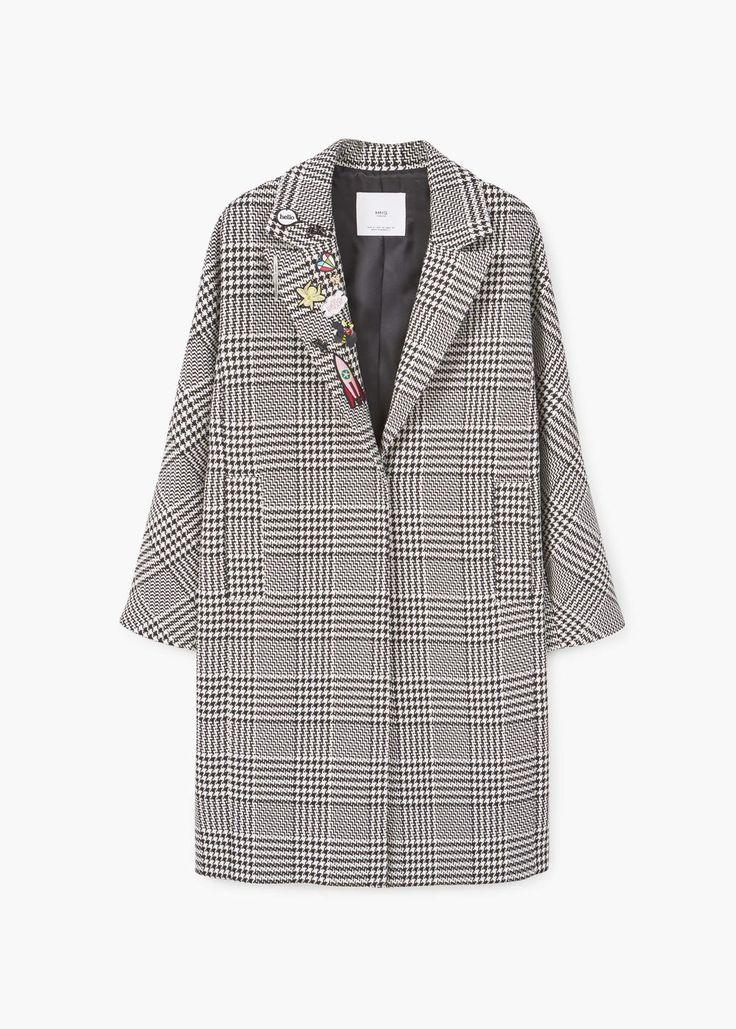 Patches houndstooth coat   MANGO