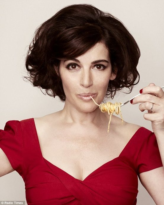 Nigella Lawson, she is 52, eats carbs, chocolate and drinks lots of wine... I should look like this at 100 at the rate I'm going!