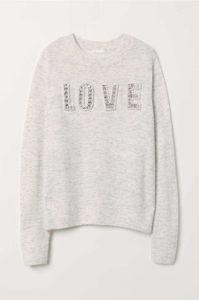 ccd5e3537 Camisola em malha com motivo - Cinzento claro mesclado Love - SENHORA