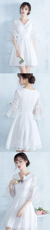 Short Homecoming Dress, Lace Homecoming Dress, V-Neck Homecoming Dress, Tulle Junior School Dress, Charming Graduation Dress, 17514