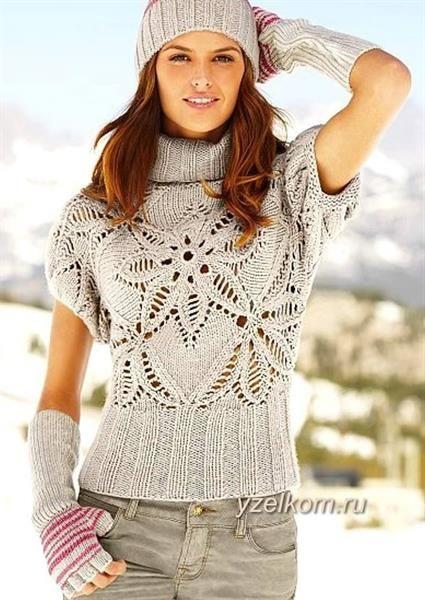 Женский свитер 46 разм арнамент на спицах