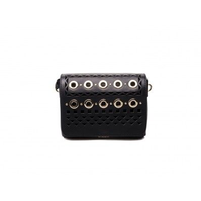 PINKO - Mini shoulder bag Whitman laser detailswith gold studs leather black  - Elsa-boutique.it
