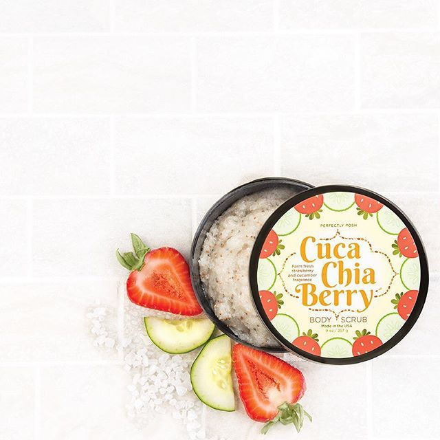 Sea salt and chia seeds exfoliate skin to remove dead, dry layers while honey and shea tighten and nourish. Brighten your days with Cuca-Chia-Berry Body Scrub, on sale this week for only $22 (reg. $24). #strawberry #chia #chiaseeds #cucumber #exfoliate #shea #honey #skin #skincare #beauty #beautyblogger #healthy #girl #bath #bathtime #shower #body #seasalt #summer #beautiful #beach #soft #spa #girlsnight #perfectlyposh #pamper #madeintheusa #crueltyfree #sale #bblogger
