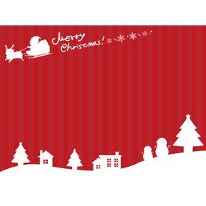 フリーイラスト, ベクター画像, AI, 背景, 年中行事, クリスマス, 12月, 冬, 雪, 赤色(レッド), サンタクロース, トナカイ, 雪だるま, 家(一軒家), メリークリスマス