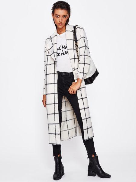 Printed Coats: Drape Collar Grid Longline Coat #Coat #coats #Collar #drape #Gri…
