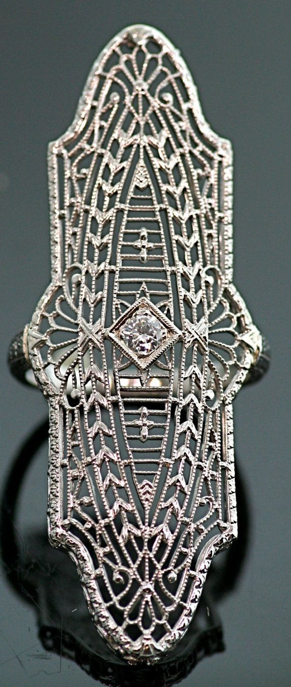 Eduardian Antique Filigree Platinum/14karat  Diamond Ring on Etsy, $2,750.00