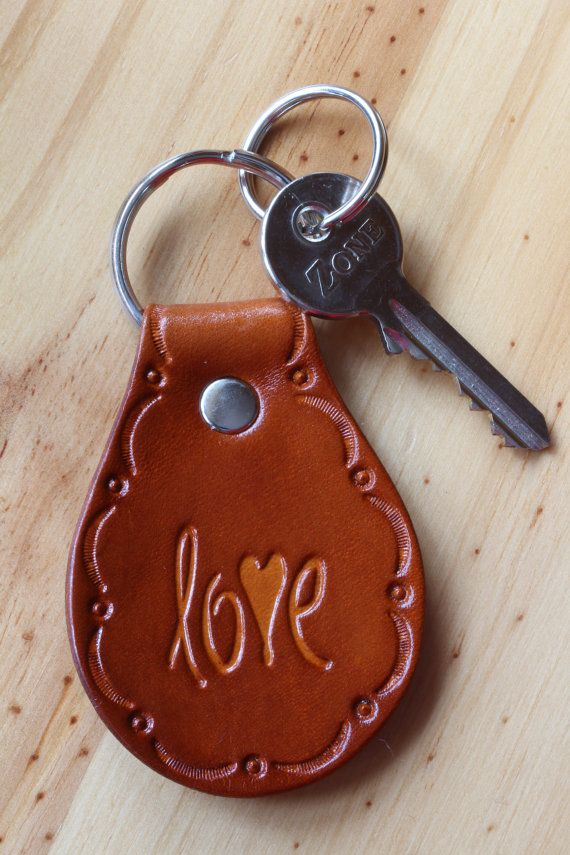 Handmade Love Leather Keychain by Tina's Leather Crafts on Etsy.com.  Repin To Remember.