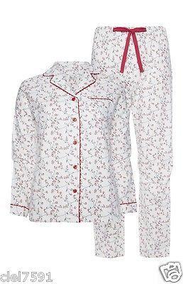 Para mujer de algodón cepillado Navidad Pijamas Damas Franela Pijamas Ropa De Dormir 6-20 Nuevo