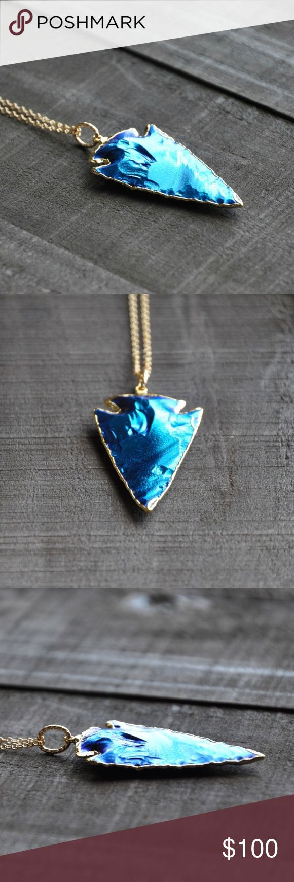"""Mystic Blue and Gold Arrowhead Necklace Large Mystic Blue Titanium Arrowhead with 24k Electroplated Gold Edging on a 24"""" Inch Gold Fill Chain - made by me  This electric blue arrowhead will turn heads! It's gorgeous, eye catching, and really cool. Arrowheads are treated with titanium to get this electric blue coloring.  Visit aLittleMouseShop.etsy.com for more of my handmade jewelry and 20% discount! Jewelry Necklaces"""
