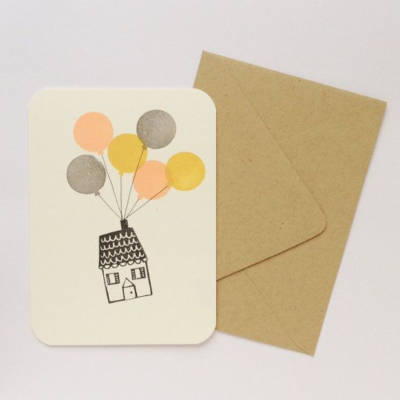 Going Away House with Balloons Greeting by FreshBakedPaperGoods, $4.00