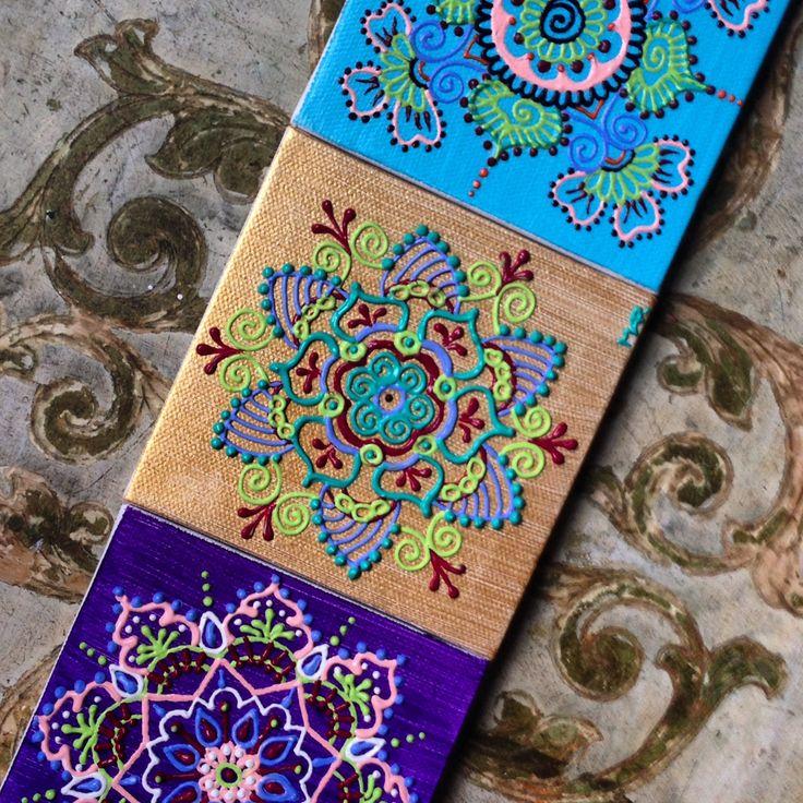 Henna style mandalas.  Acrylic paint on mini canvases by Henna on Hudson