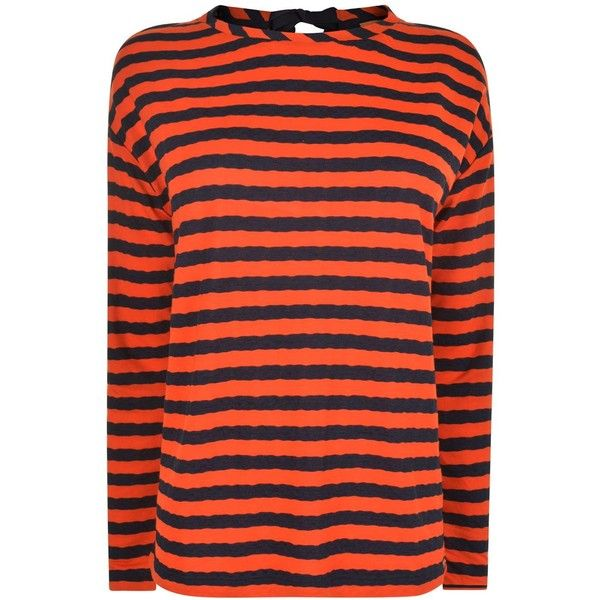 BOSS ORANGE Tibow Top ($85) ❤ liked on Polyvore featuring tops, orange top, long sleeve tops, bow top, viscose tops and striped long sleeve top