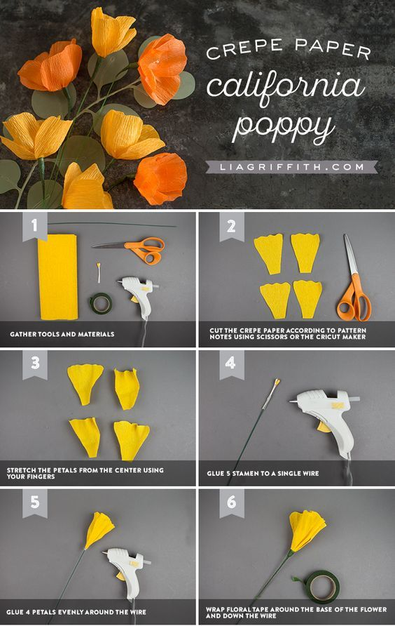 DIY Crepe Paper Poppy Tutorial by www.LiaGriffith.com #crepepaperflowers #crepepaperflower #crepepaperpoppy #paperflowers #paperflower #paperpoppy #paperflowertutorial #howto