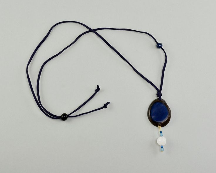 Navy long necklace, blue tagua jewelry, blue cord necklace, adjustable necklace, tagua pendant, gift for her under 16, agate boho necklace by ColorLatinoJewelry on Etsy