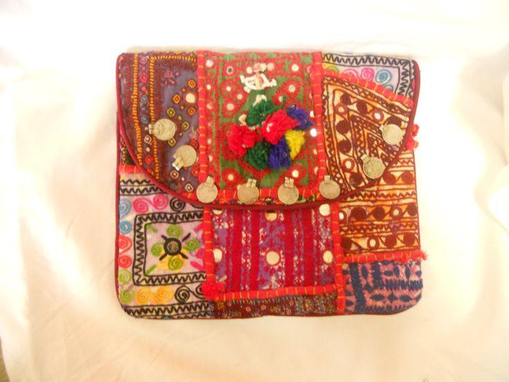 Indian Tribal Banjara Boho fabric pouch Gypsy clutch by ArtMela, $49.11