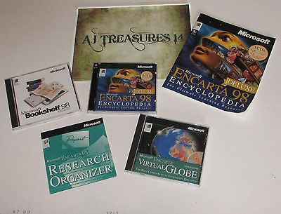 Microsoft Encarta 98 Deluxe Lot, Virtual Globe, Bookshelf 98, Resarch Organizer