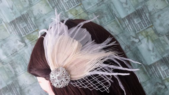 White Bridal Ivory Peacock Feathers Veil Fascinator Wedding Bridesmaid Prom Hair Crystal Emellishment READY TO SHIP Actual Product