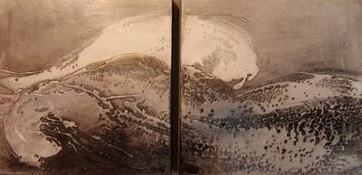 """""""Waves of Lava"""" paintings panels. Composition 50x50+50x50 in natural pigments, stucco and silver leaf. Burnishing with agate by hand. See more into link of Studio Menguante Workshop: http://www.mirabiliashop.com/studio%20menguante.htm Direct contact: info@mirabiliashop.com  Fabrizio - Venice (ITALY)"""
