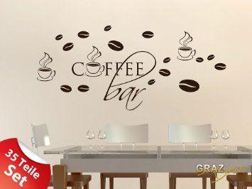 Superb Wandtattoo Wandaufkleber Set f r K che Coffee Bar Kaffeebohnen Tassen xcm Braun Amazon de