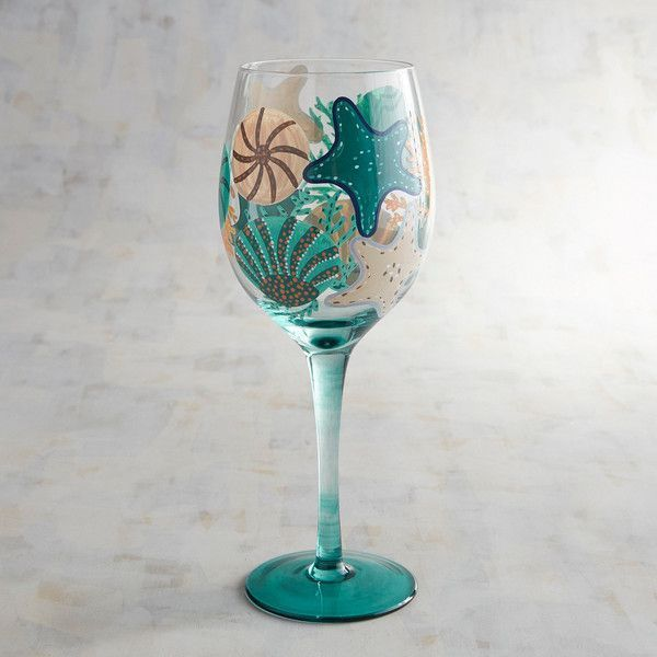 Pier 1 Imports Colorful Coastal Hand Painted Wine Glass 11 Liked On Polyvore Featuring Home Kitchen