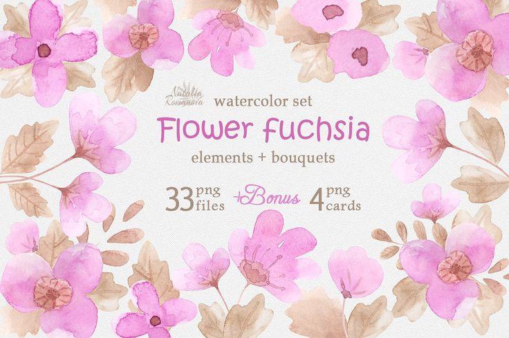 Flower fuchsia. Watercolor. by Natali_art on @creativemarket