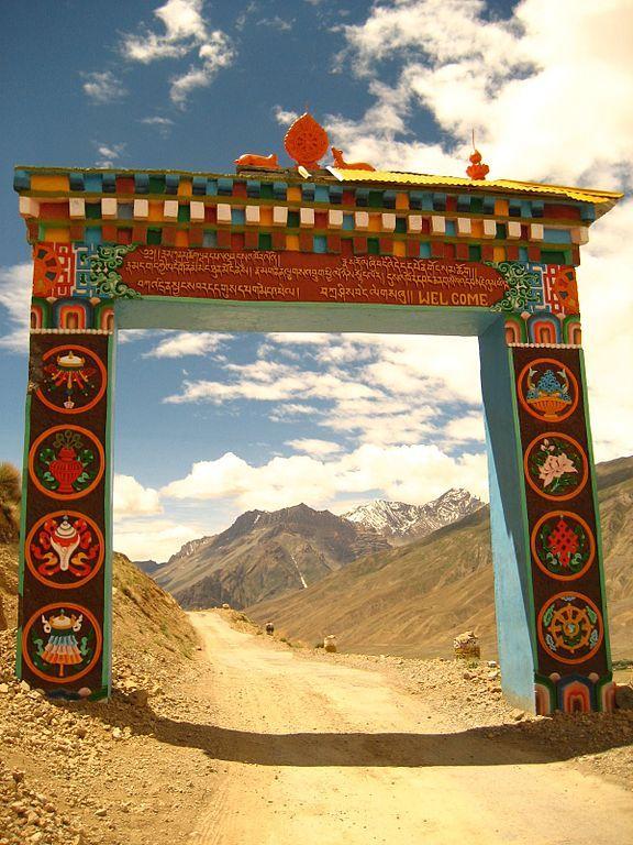 Gateway to Key Gompa (Tibetan Buddhist monastery) in Spiti Valley, Himachal Pradesh, India.