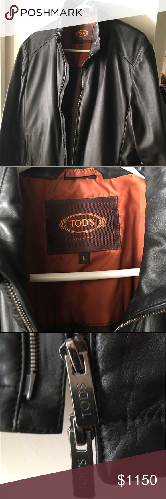 Tod's lambskin leather jacket, men's large Tod's black leather jacket. Lambskin. Zip pockets. New without tags, never worn.  Quilted lining. Made in Italy. Tod's Jackets & Coats
