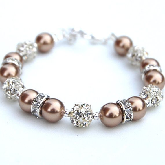 Bridesmaid Jewelry Bronze Pearl Rhinestone Bracelet by AMIdesigns, $24.00