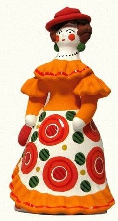 Dymkovo toy is a traditional painted clay toy from the Russian village of Dymkovo. A lady in a red hat. #Russian #folk #art