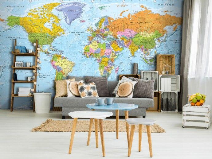 Orbis Terrarum 94375 Carta da parati, Mappa del mondo su