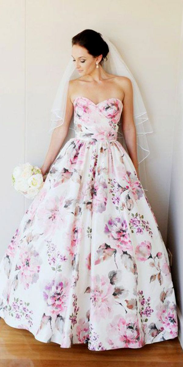 17 best ideas about floral wedding dresses on pinterest for Floral dresses for weddings