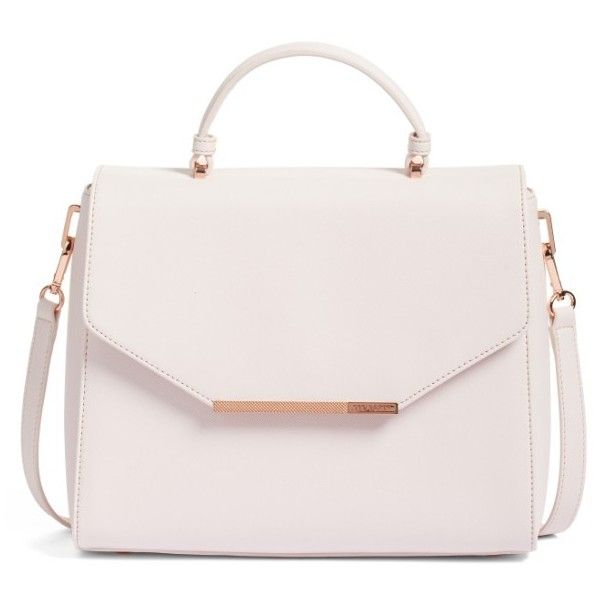 Women's Ted Baker London Large Dajana Faux Leather Top Handle Satchel ($150) ❤ liked on Polyvore featuring bags, handbags, nude pink, satchel handbags, pink satchel, ted baker handbags, ted baker satchel and nude purses
