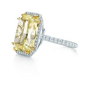 wedding yellow gold black diamond emerald cut engagement ring rough diamond two Yellowtiffany