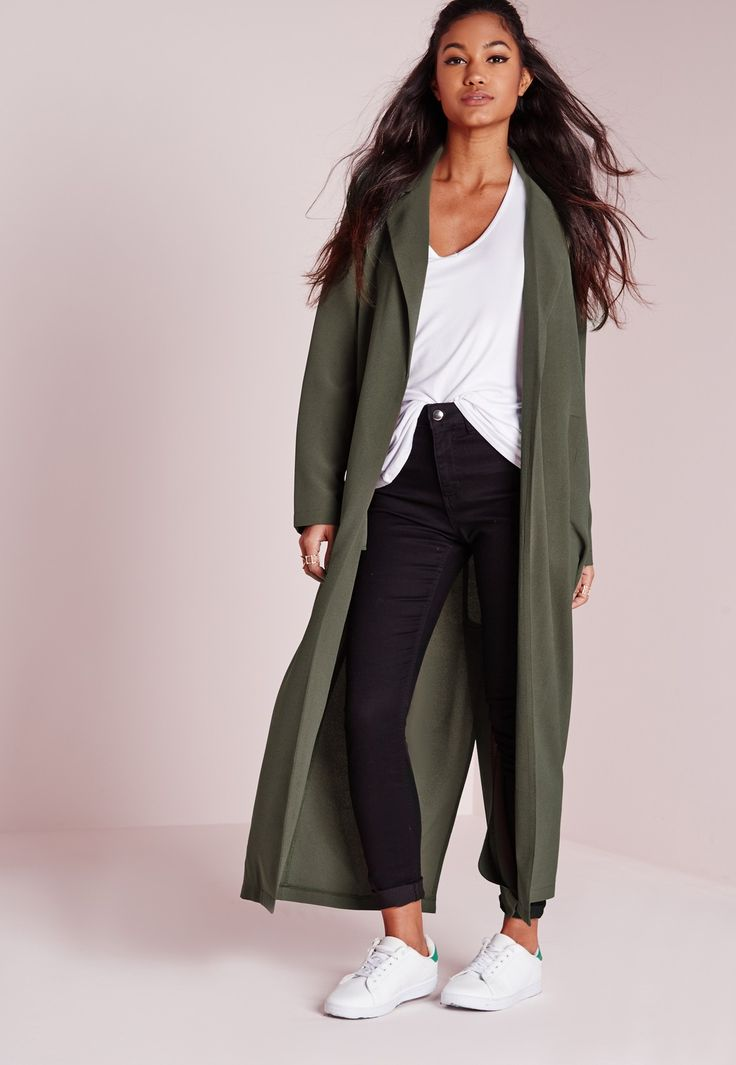 Missguided - Long Sleeve Maxi Duster Jacket Khaki