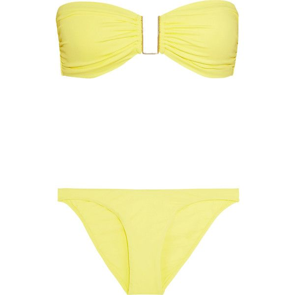 Melissa Odabash Barcelona bandeau bikini ($115) ❤ liked on Polyvore featuring swimwear, bikinis, yellow, bandeau bikinis, yellow bikini swimwear, bandeau halter bikini, yellow bandeau bikini and bikini swimwear