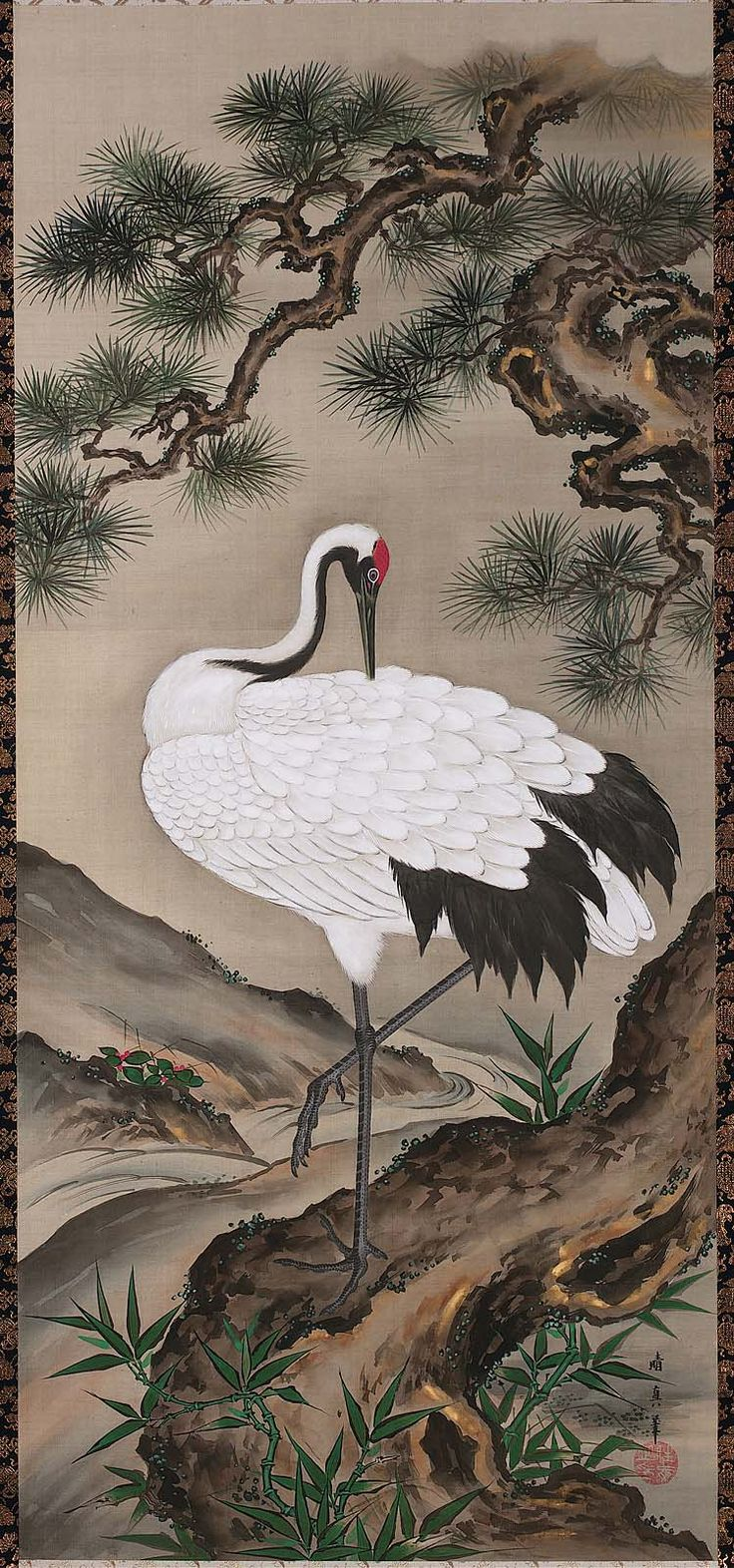 Crane with Pine Tree-Japanese Edo period mid-19th century Kamiya Seishin (Japanese, dates unknown)