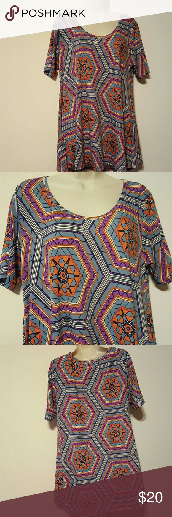 SALE!!🎉 LULAROE AZTEC BLOUSE √Aztec Blouse √Color: Purple, Indigo, Black, White and Orange √Armpit to Armpit 20 √Top to Bottom 28 √Material: 96% Polyester and 4% Spandex √In good condition LuLaRoe Tops Blouses