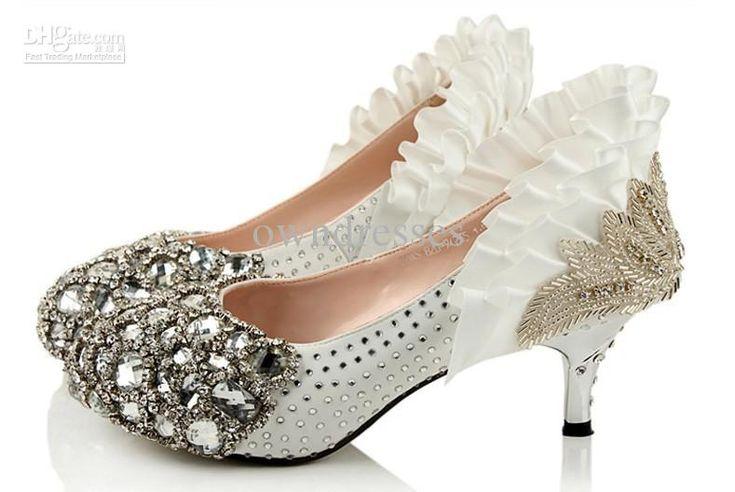 Wholesale Bridal Shoes - Buy Freeshipping N Low Heel Silver Bead Rhinestone High Heels Bridal Wedding Shoes Party Shoes, $176.69 | DHgate