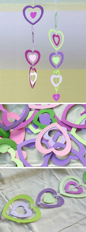 Paper Heart Mobile | DIY Valentines Crafts for School Parties | DIY Valentines Crafts for Kids to Make