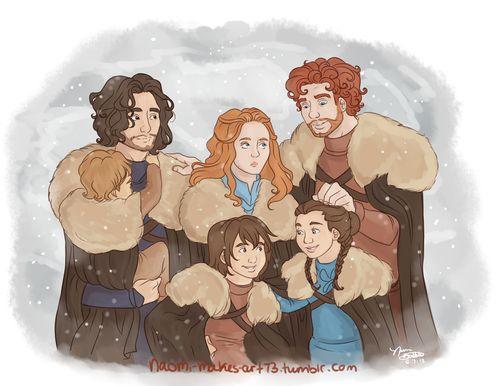 Robb, Sansa, Arya, Bran and Rickon Stark & Jon Snow - Game of Thrones, House Stark