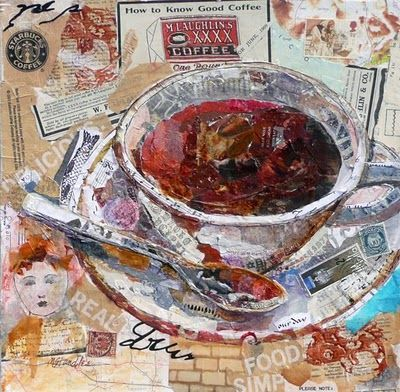 Good Coffee, 12x12, sold, uses torn magazine pages, some from vintage magazines, stamps, a few pieces of hand painted paper, maps and music.
