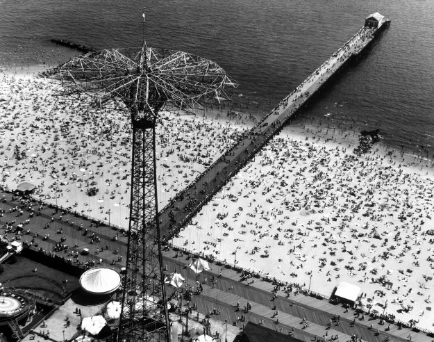 Coney Island, 1951. Arial view of the parachute jump and beach.