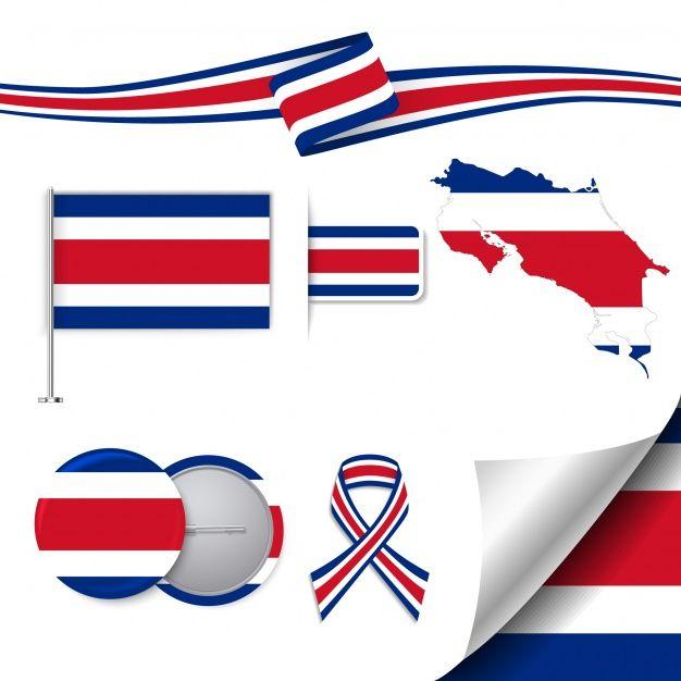 Colección de elementos de papelería con diseño de la bandera de costa rica Vector Gratis