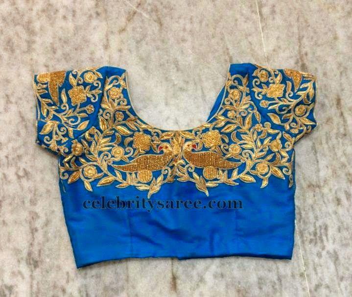 Parrot Work Royal Blue Blouse | Saree Blouse Patterns
