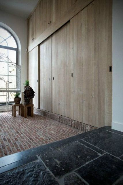 Brick, wood and blue stone, all belgian design