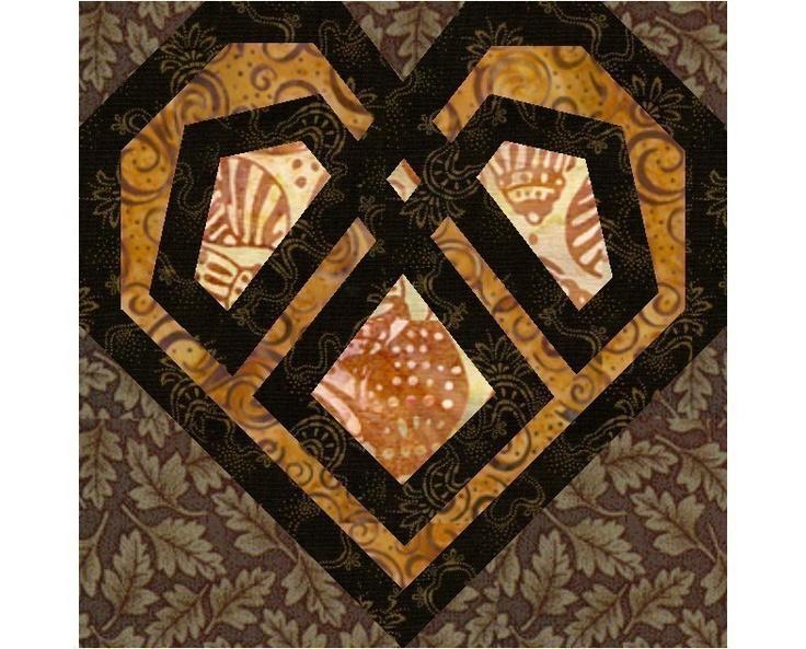Celtic Heart paper pieced quilt block pattern....