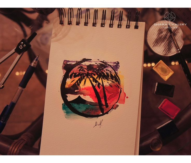 Sunrise sketch for tattoo by Valery Sharay.