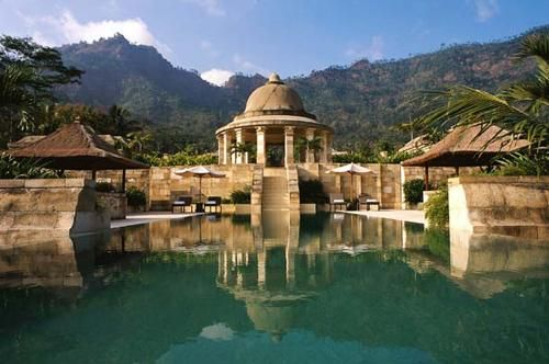 Amanjiwo Resort, a luxury hotel in the Menoreh Hills near Magelang, Central Java, Indonesia.