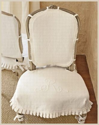 chair coverVintage Chairs, Ideas, Country Living Magazines, Dining Chairs, Slipcovers, Seats Covers, Monograms, Chairs Covers, Dining Room Chairs